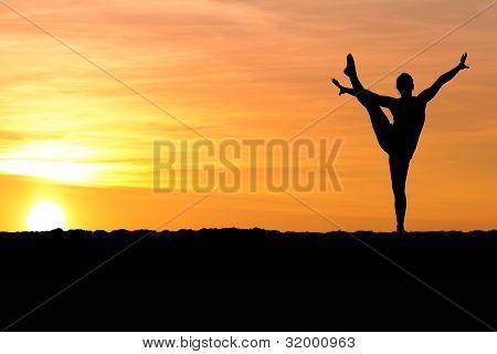 gymnast on beach