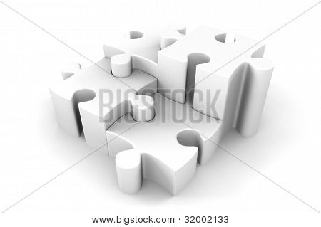 3D Puzzle Pieces In White Interlocking
