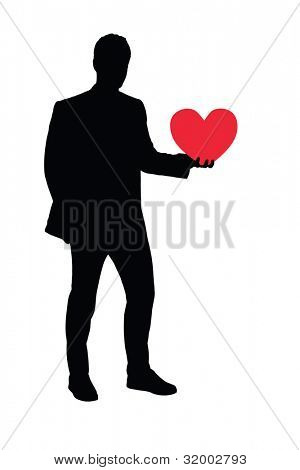Illustration of a full length portrait of a man holding a heart shaped object isolated on white background