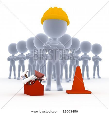 Builders, toon workers team with tools on white
