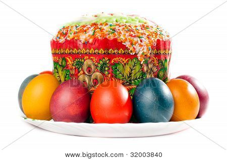 Easter Eggs And Cake On Big Plate