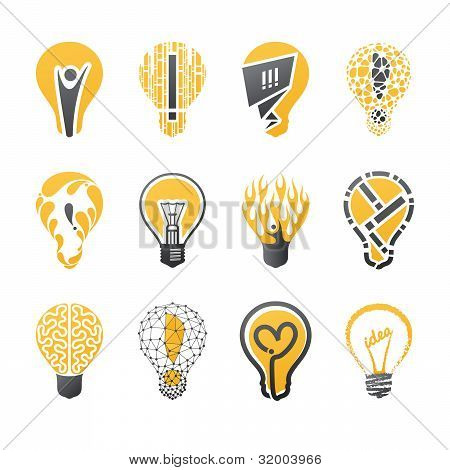 Light Bulb Idea. Icons Set.