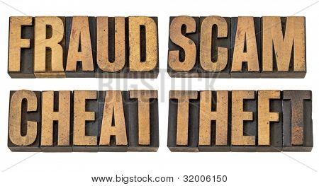 fraud, scam, cheat and theft - crime related isolated words in vintage letterpress wood type