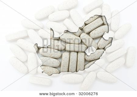 Outline Map Of South Africa With Pills In The Background For Health And Cure