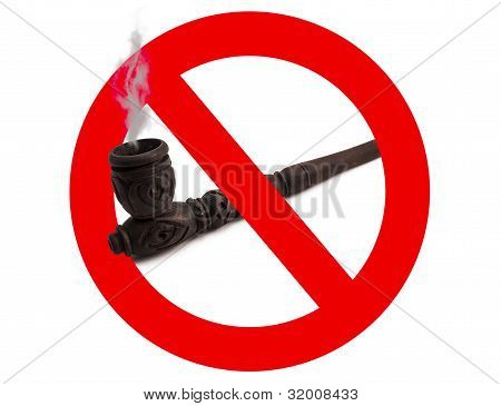 Wooden Carved Smoking Pipe  With Prohibitory Sign