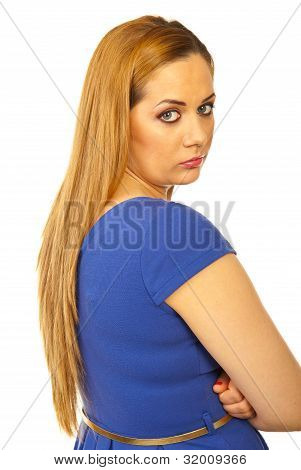 Sad Woman Looking Over Shoulder