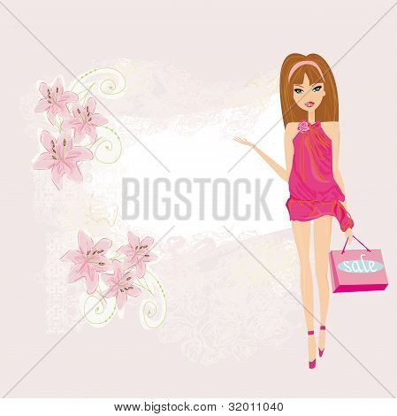 Fashion shopping girl showing message bord