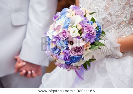 Blue And Purple Wedding Bouqet