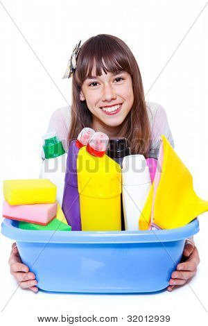 Cheerful girl holding basin with cleansers