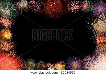Colorful Fireworks Frame
