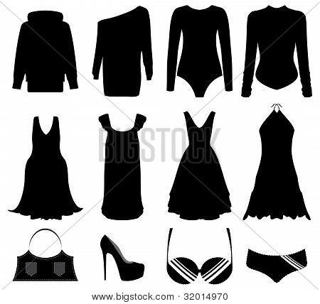 Ilustración de mujer negro especial ropa y accesorios