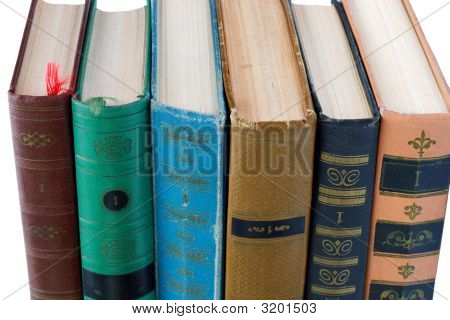Pile Of Old Antique Books On White Background