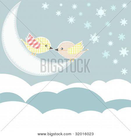 Vogel mit Liebe Kuss im Himmel Wolken