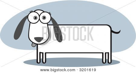 Cartoon Dog In Black And White