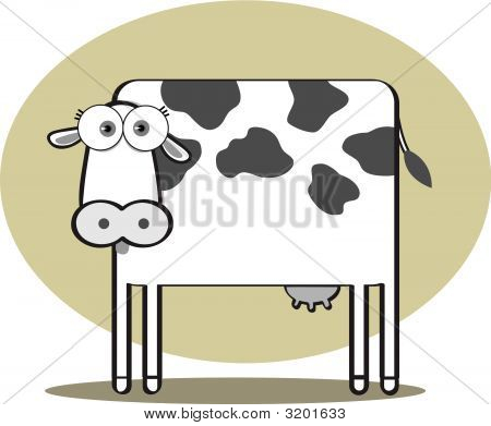 Cartoon Cow In Black And White