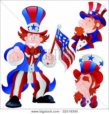 Set of Peaceful Uncle Sam Vector