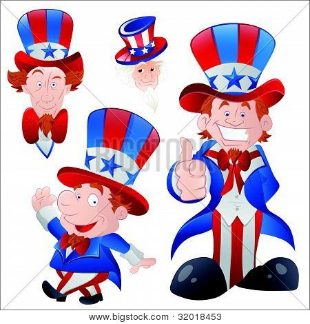 Set of Cartoon Uncle Sam