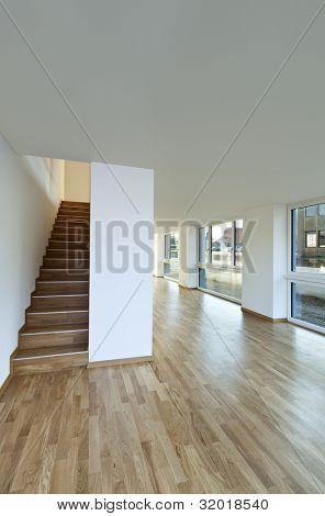 beautiful modern duplex, wooden staircase