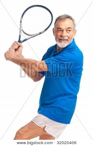 Senior Man Playing Tennis