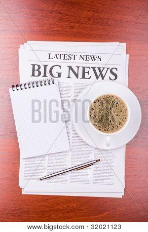 The Newspaper  Big News  And Coffee