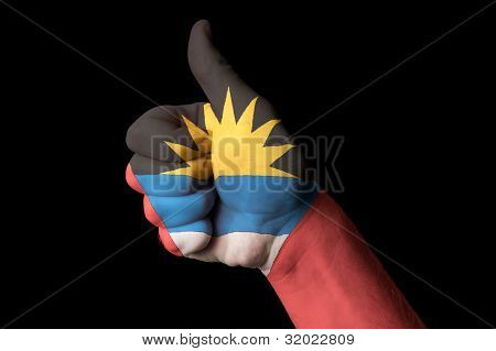Antigua Barbuda National Flag Thumb Up Gesture For Excellence And Achievement Made With Hand