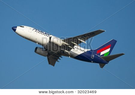 BUDAPEST, HUNGARY - OCTOBER 02: Malev Hungarian Airlines Boeing 737 takes off  October 02, 2011 in Budapest. Malev ceased all flying activity on 3 February 2012, after 66 years of service
