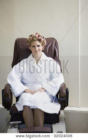 Portrait of woman in pedicure chair