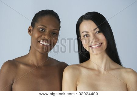 Two multi-ethnic women with bare shoulders