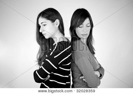 Two Girlfriends Angry Not Talking To Each Other B&w