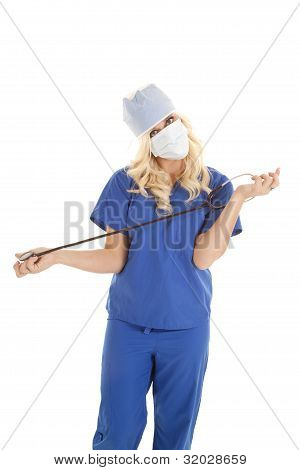Holding Out Stethoscope