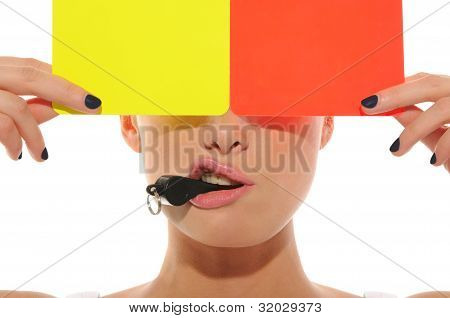 Beautiful Woman With Whistle, Yellow And Red
