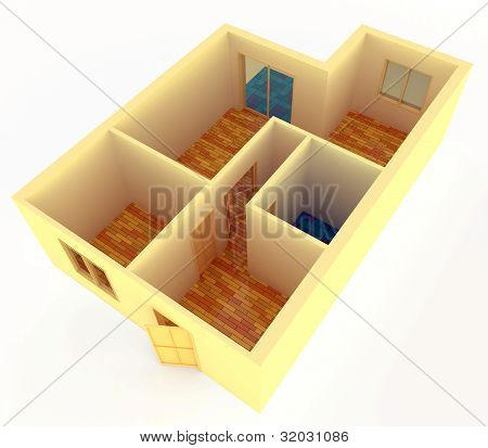 Perspective View Of Small Apartment With Walls