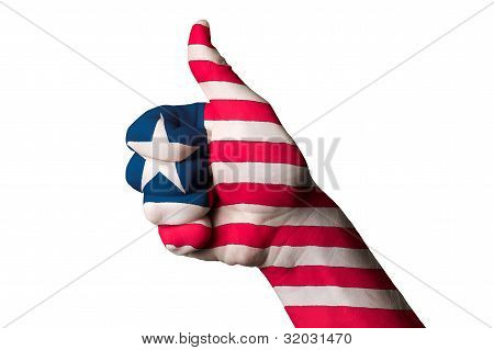 Liberia National Flag Thumb Up Gesture For Excellence And Achievement Made With Hand