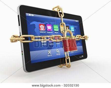 Tablet pc security. Chain with lock on computer. 3d
