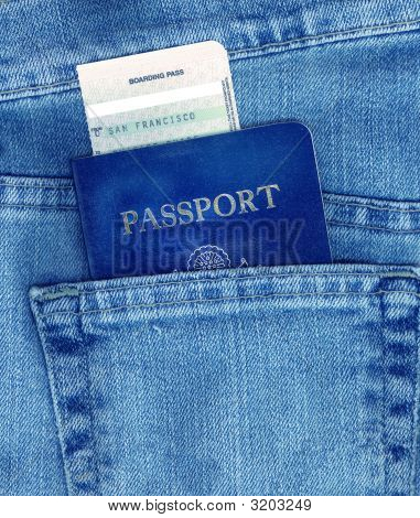 Passport And Boarding Pass In Pocket