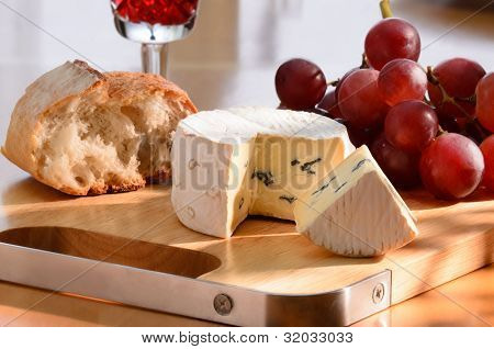 Still-life With Blue Cheese, Grape And Bread.