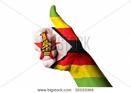 Zimbabwe National Flag Thumb Up Gesture For Excellence And Achievement Made With Hand