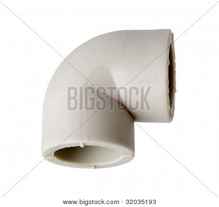 Fitting (corner) to Connect To polypropylene tubes, Isolated on A White background.