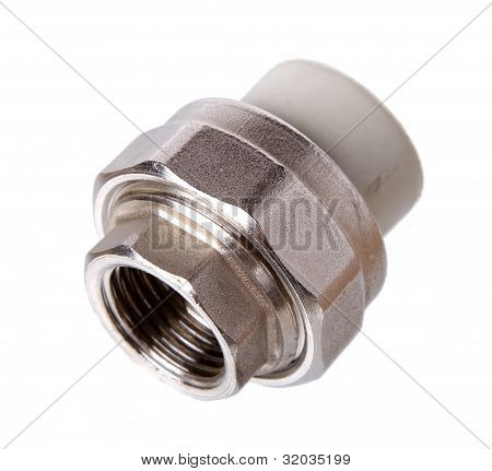 Fitting (coupler) to Connect To polypropylene tubes, Isolated on A White background.