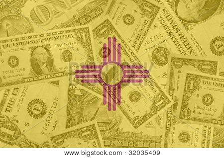 Us State Of New Mexico Flag With Transparent Dollar Banknotes In Background