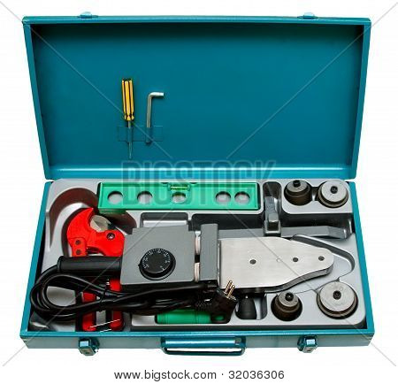 A Set Of Tools for Welding plastic Pipe isolated on A White background.