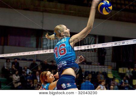 Yulia Merkulova Atack. Spiker Of Dynamo Moscow Team