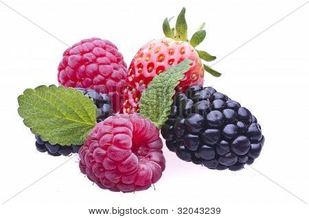Raspberries, blackberries and strawberries
