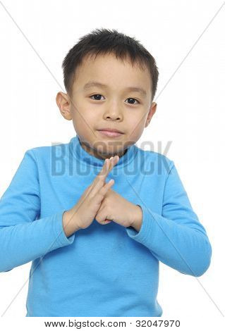 Portrait of a little boy hand gesture posing