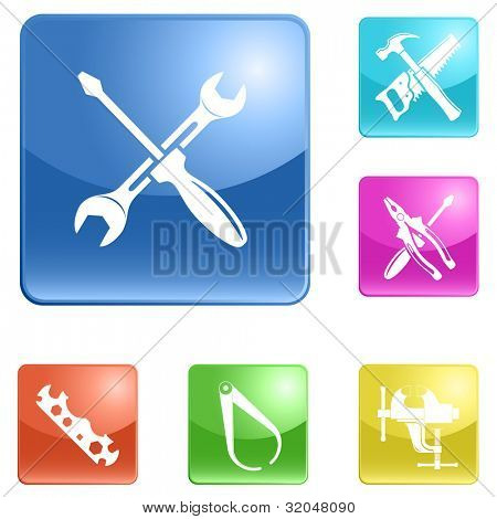 Set of internet buttons with icons (tool). Raster illustration.