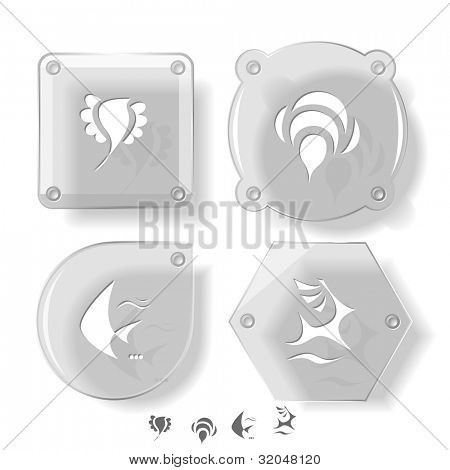 Animal icon set. Deer, bird, bee, fish.  Glass buttons. raster illustration.