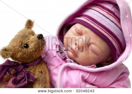 Little Girl Sleeps With Teddy Bear
