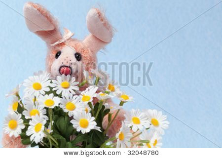 Bunny With Bouquet Of Marguerite