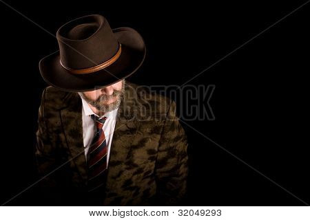 Fashionable middle aged man in a stetson