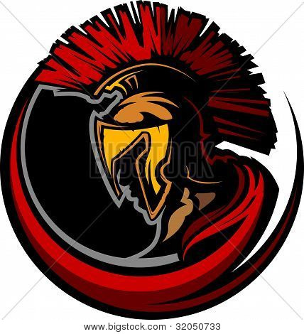 Roman Centurion Mascot Head With Helmet Vector Graphic